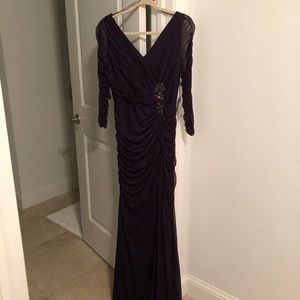 Aubergine Adrianna Papell Drape Covered Gown